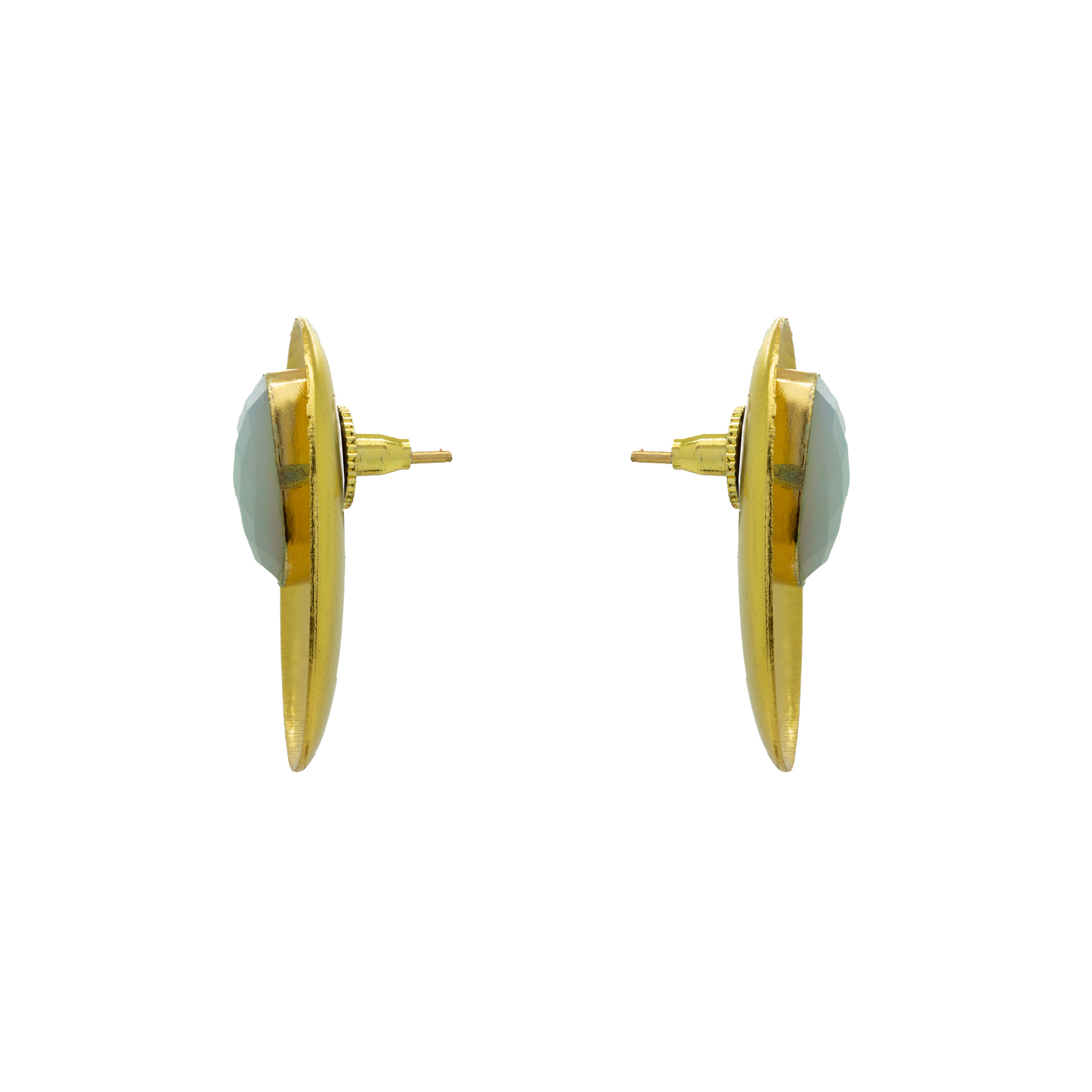 Sky Blue Octagon Gold Plated Studs