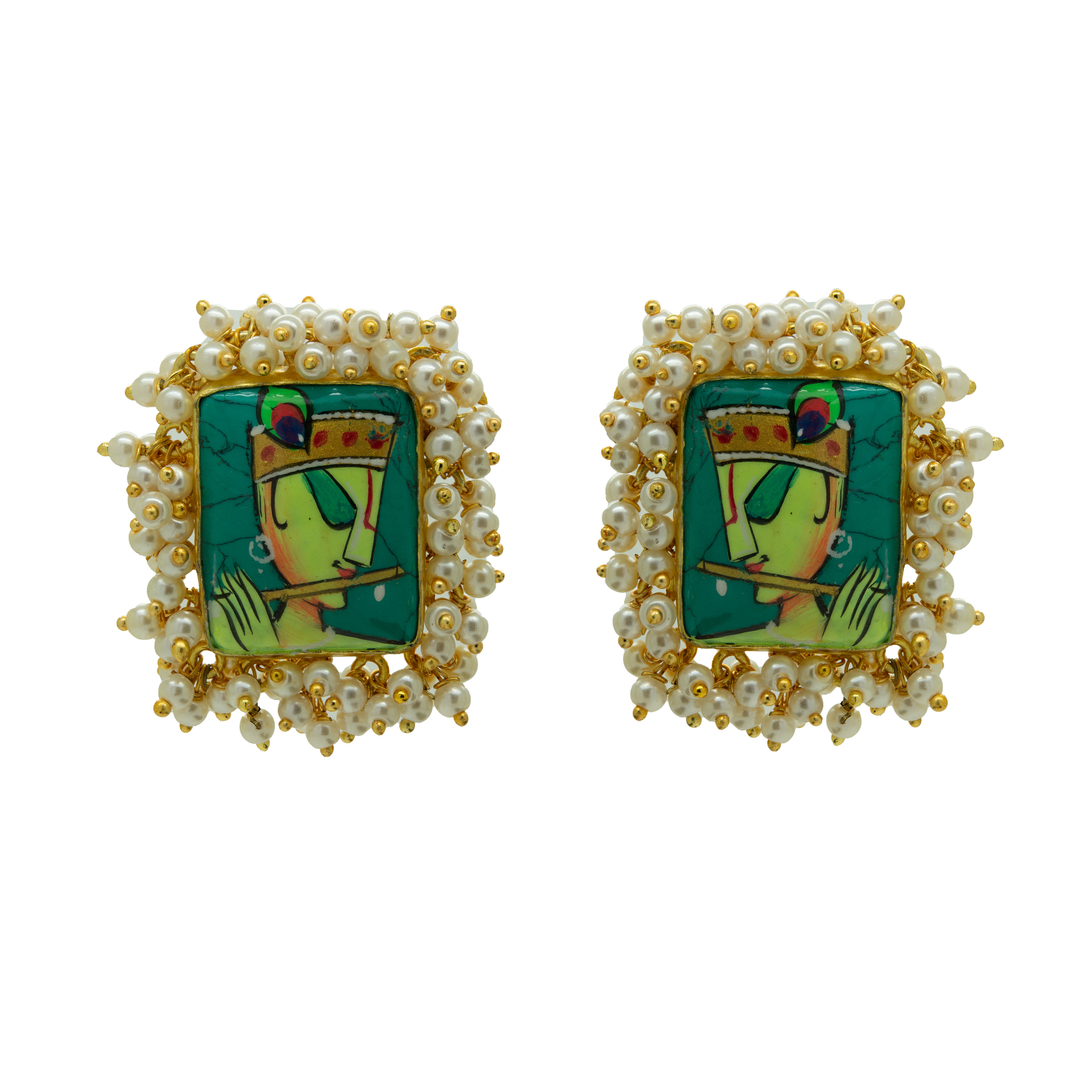 Hand-painted Krishna Gold Plated Studs 2