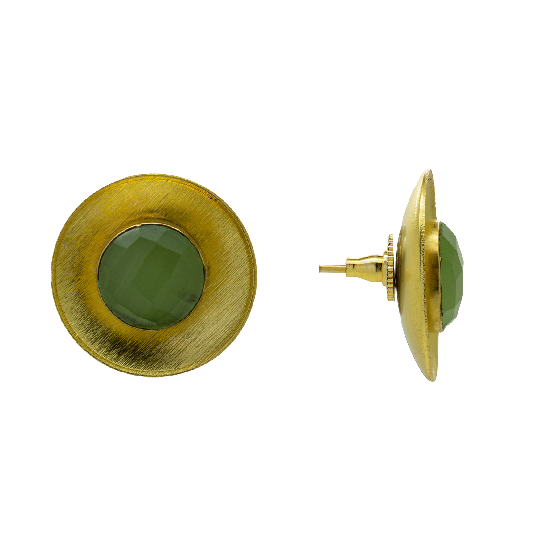 Gold Plated Casual Wear Pista Stone Studs