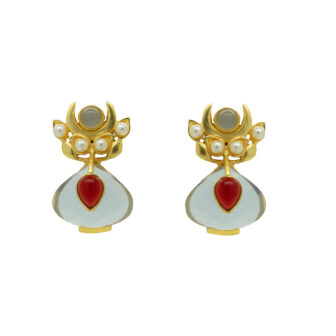 Transparent Blue & Ruby Gold Plated Studs 2