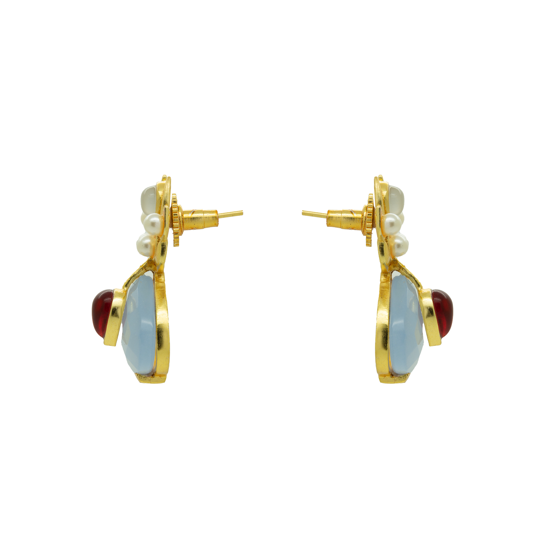 Transparent Blue & Ruby Gold Plated Studs