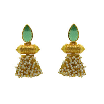 Gold Plated Unique Craving Stone Designer Earring
