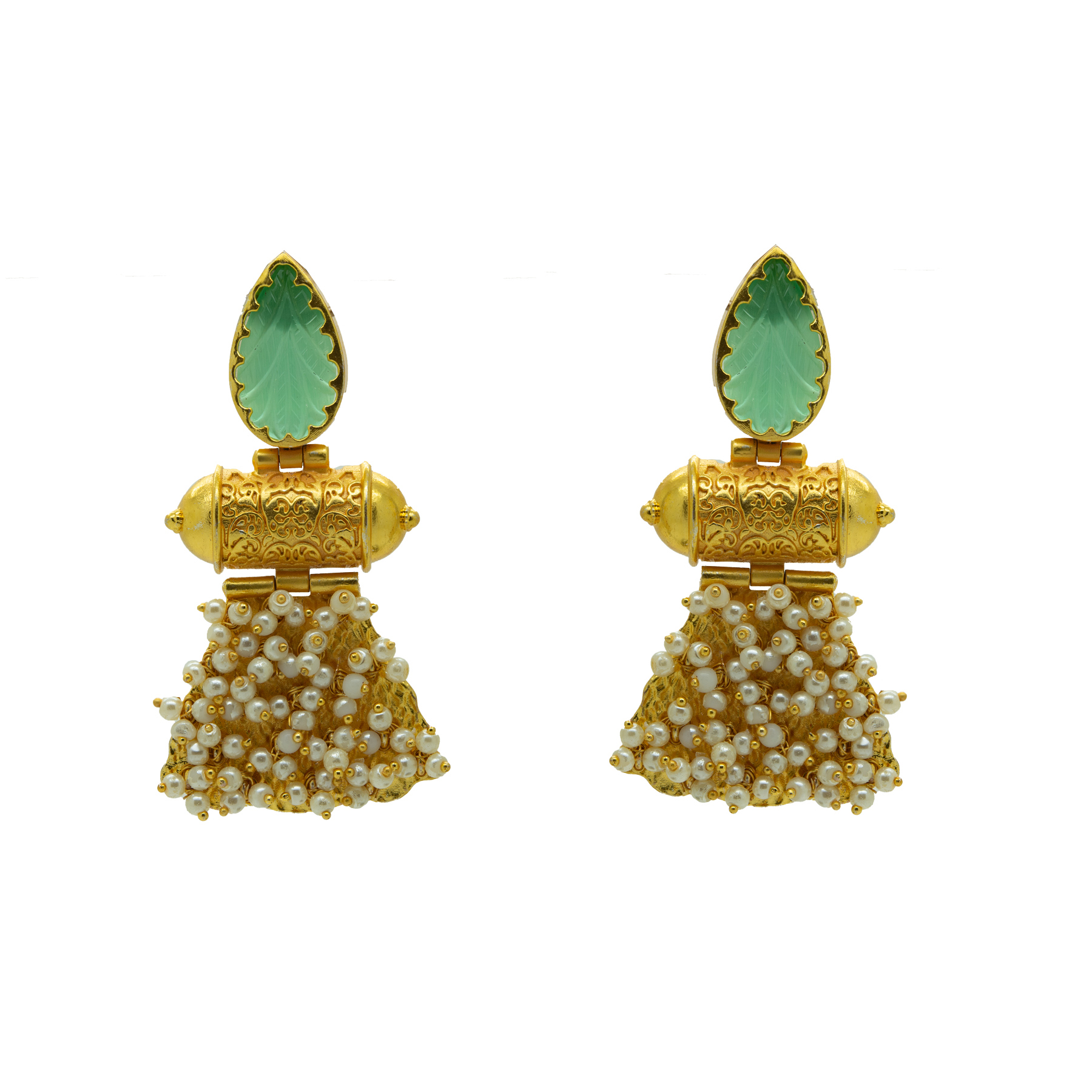 Gold Plated Unique Craving Stone Designer Earring 1