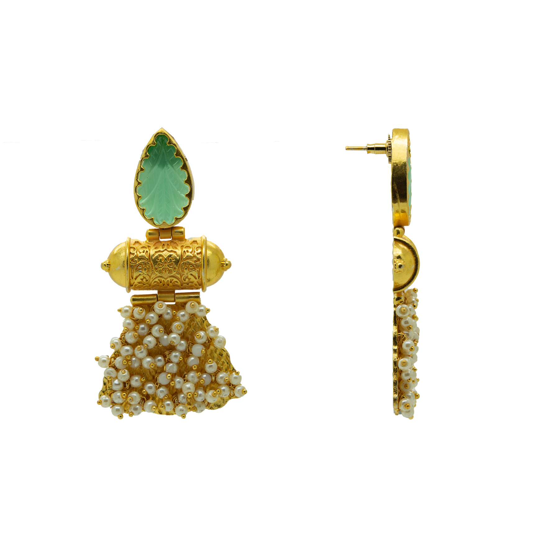 Gold Plated Unique Craving Stone Designer Earring 2