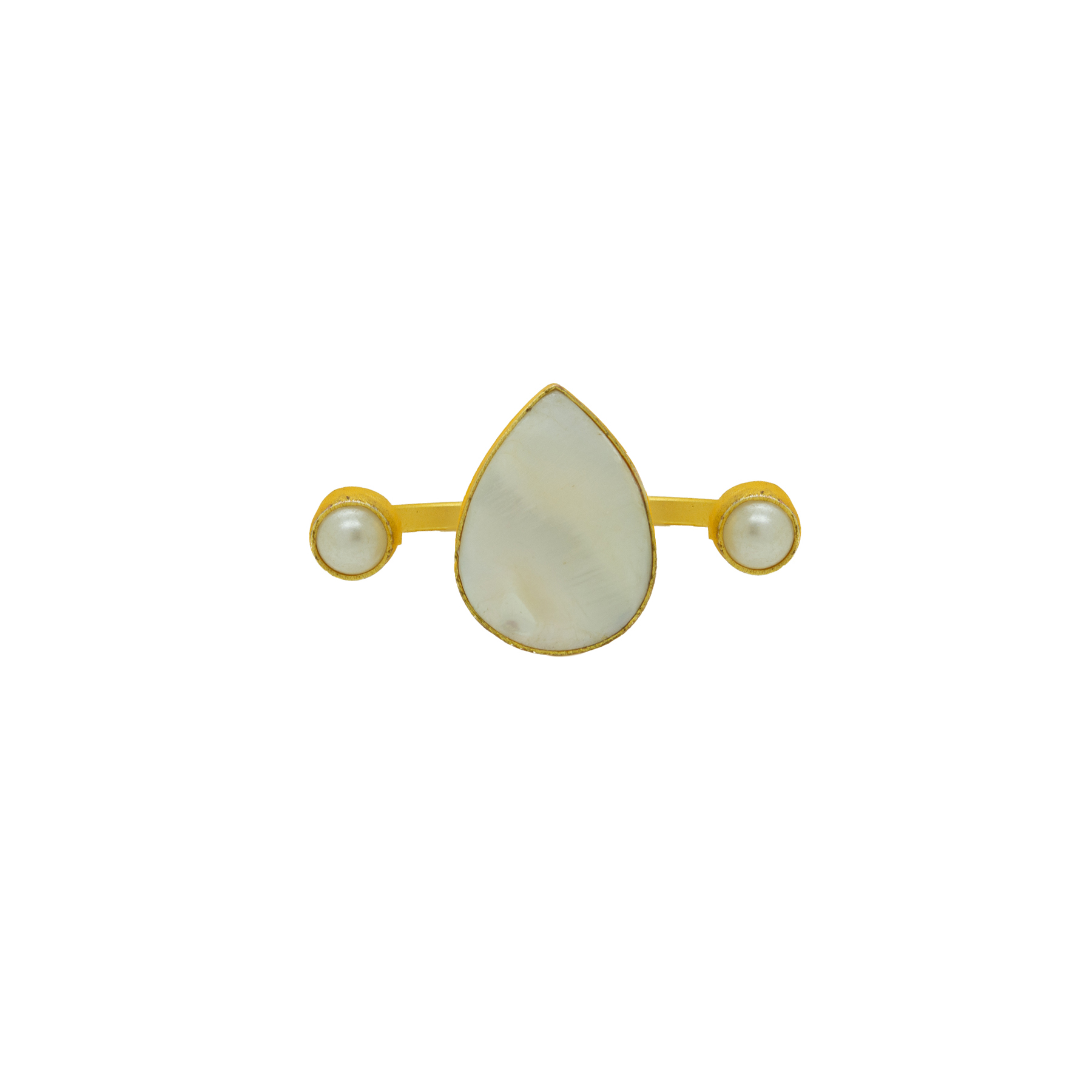 Matte Gold Plated MOP Dual-Finger Ring 2