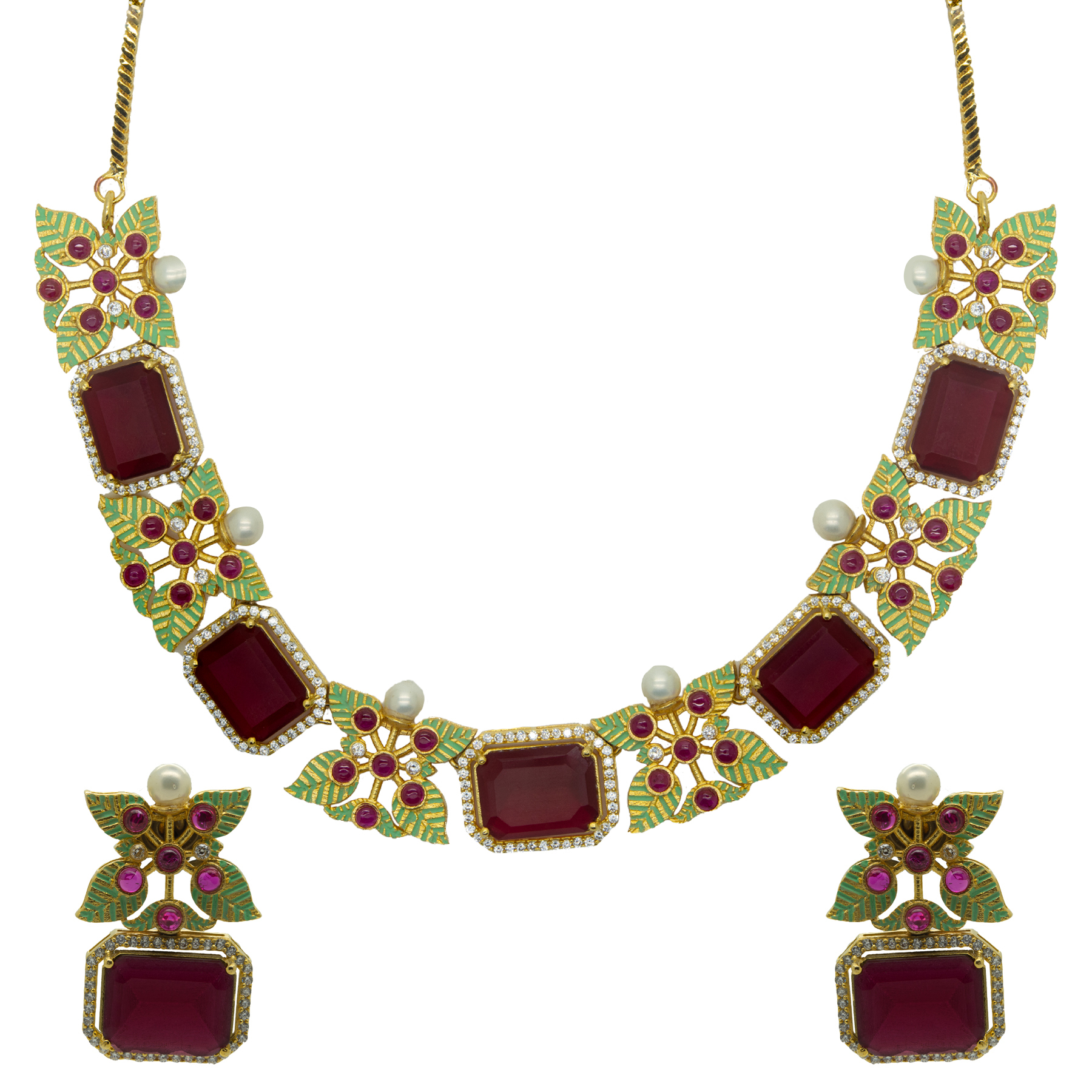 Handcrafted Meenakari Stone Necklace With Earrings 2