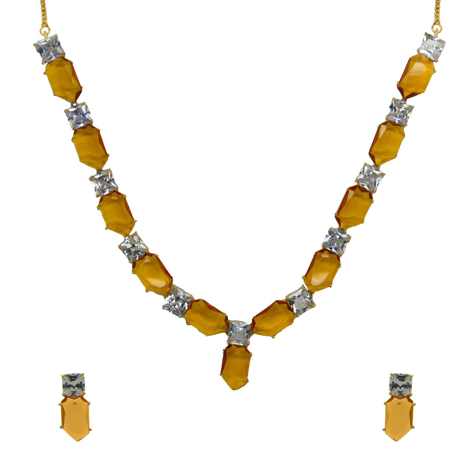 Statement Champagne Colour Stone Necklace With Studs 2