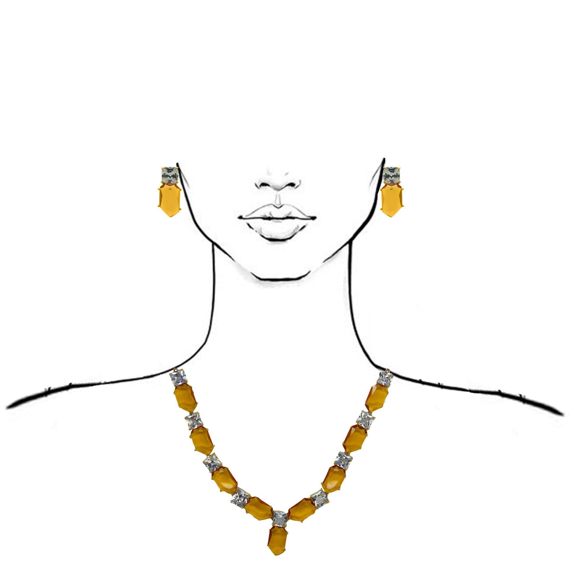 Statement Champagne Colour Stone Necklace With Studs