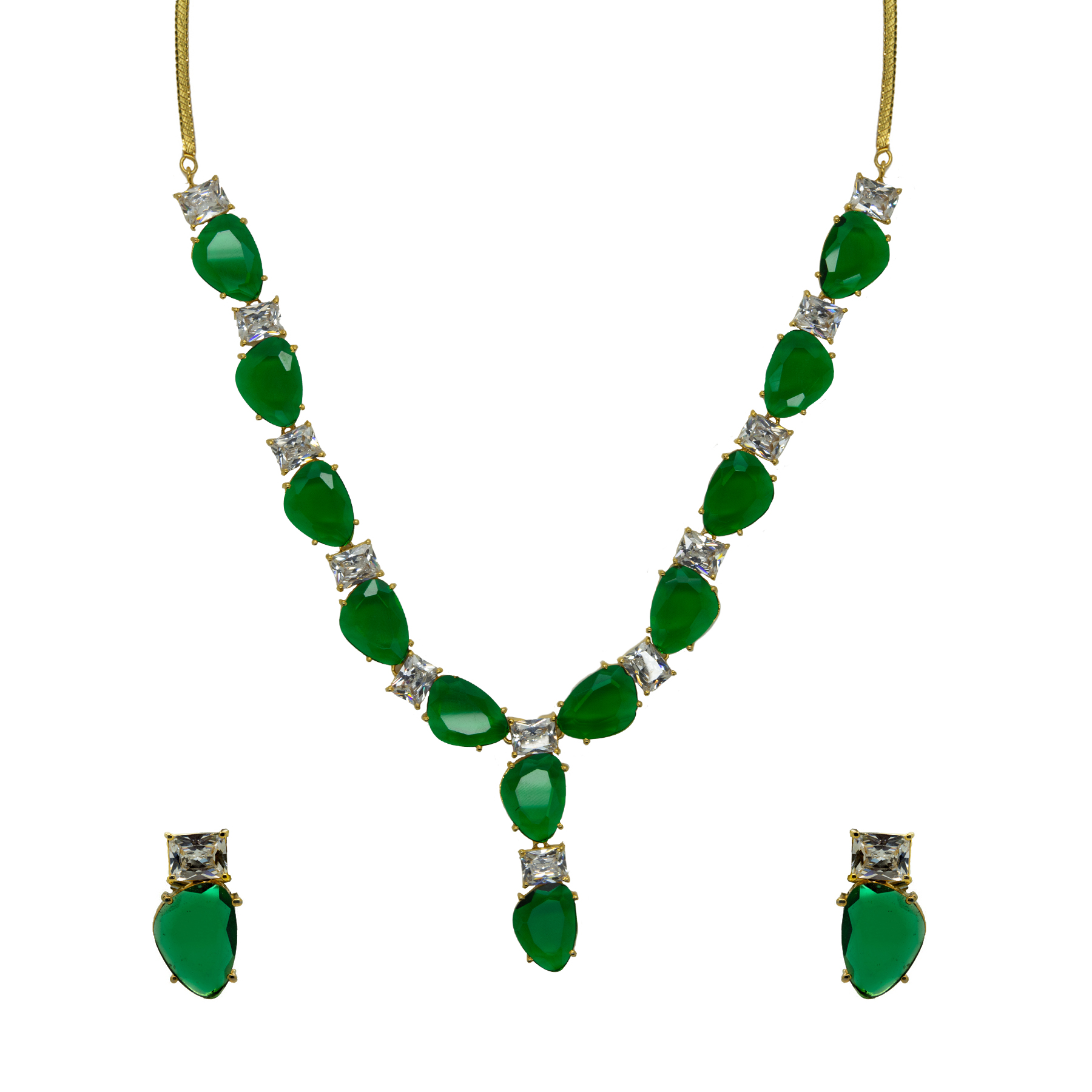 Statement Bottle Green Colour Stone Necklace With Studs 2