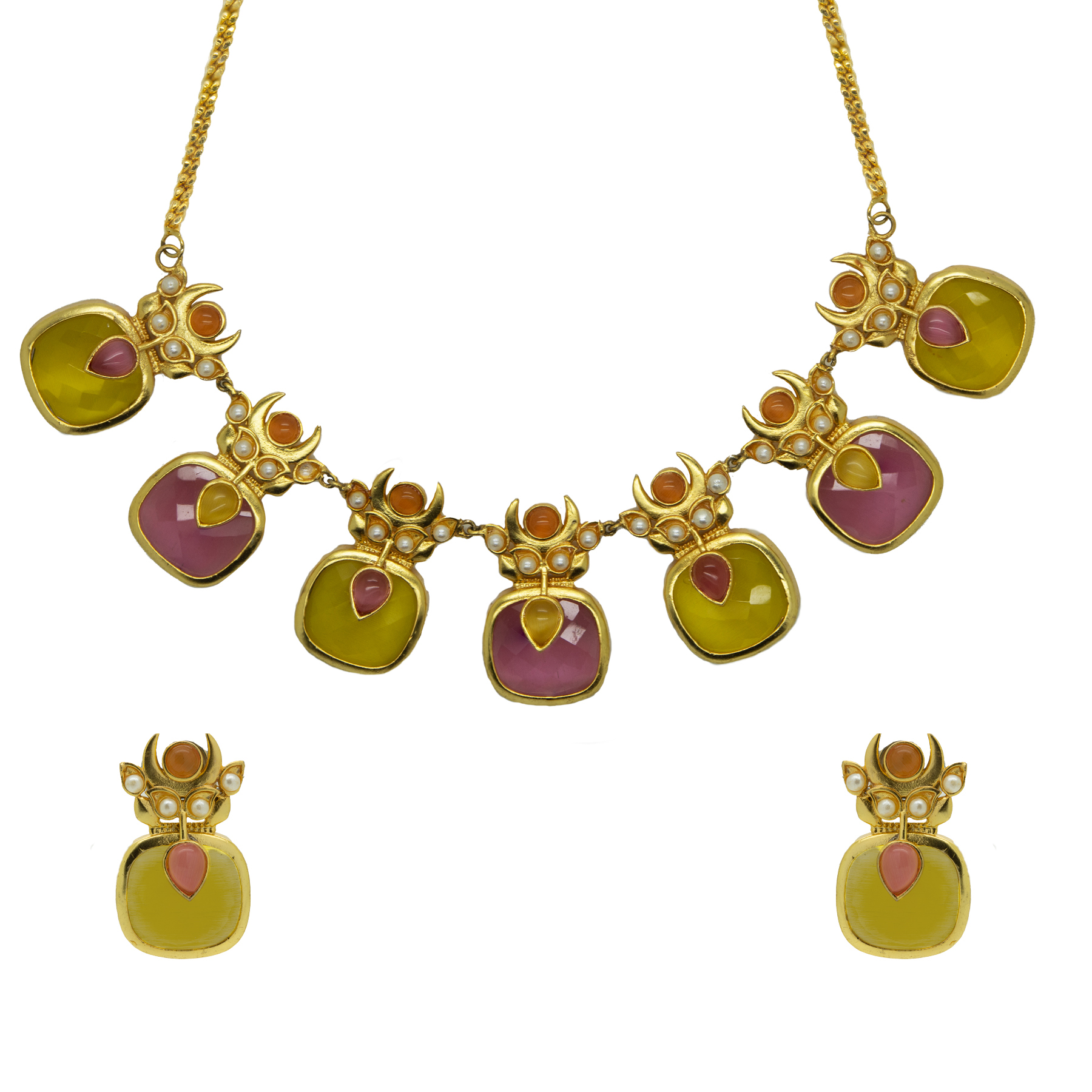 Matte Gold Plated Pink-Yellow Stone Necklace With Studs 2
