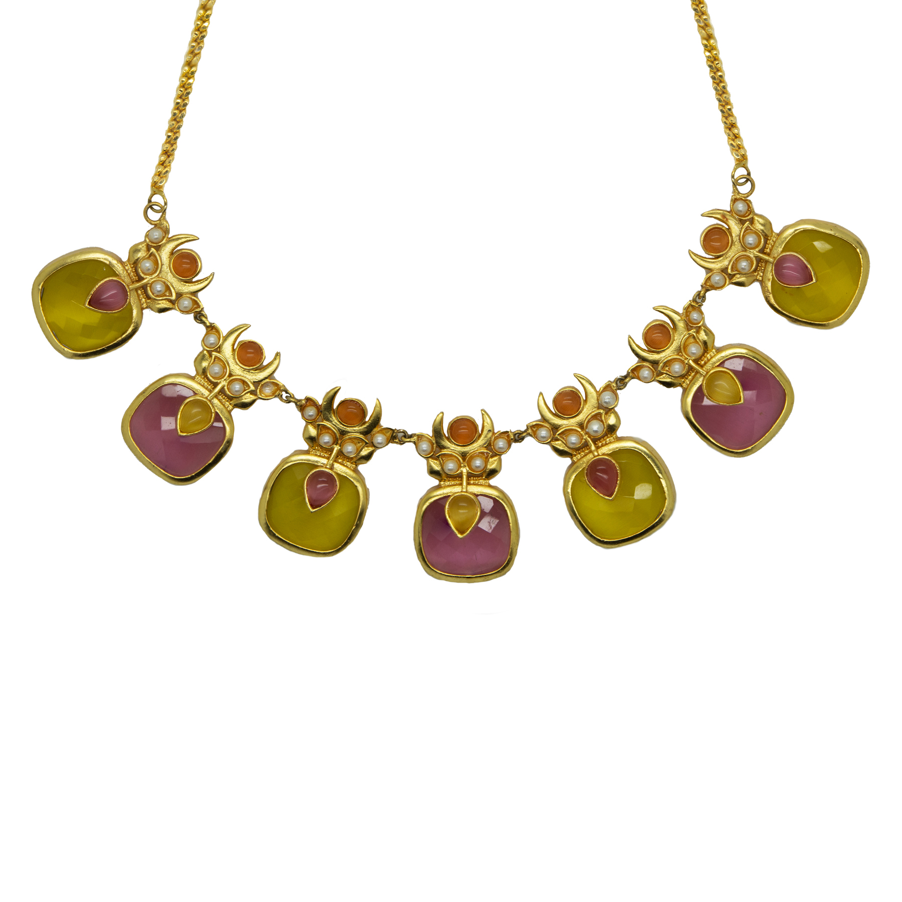 Matte Gold Plated Pink-Yellow Stone Necklace With Studs