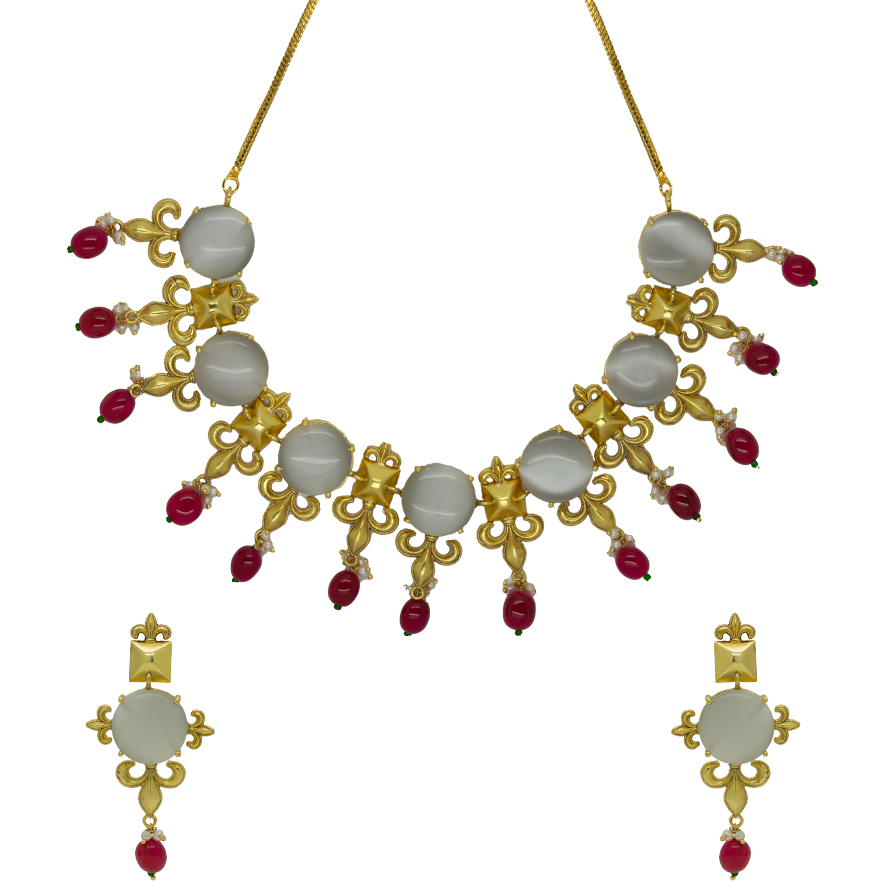 Handmade Gold Plated Grey Stone Ruby Mani Necklace With Earrings 2