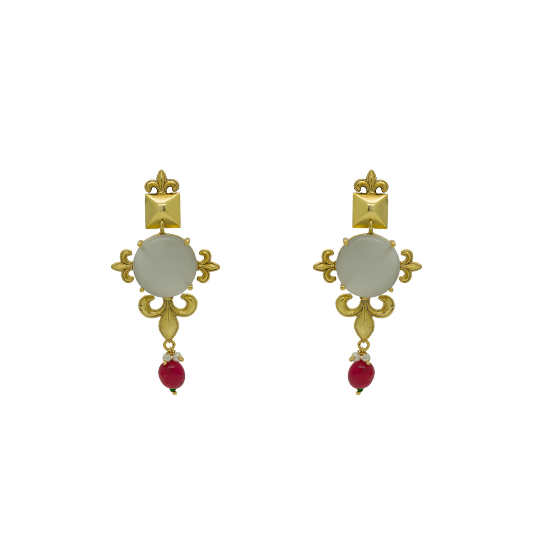 Handmade Gold Plated Grey Stone Ruby Mani Necklace With Earrings