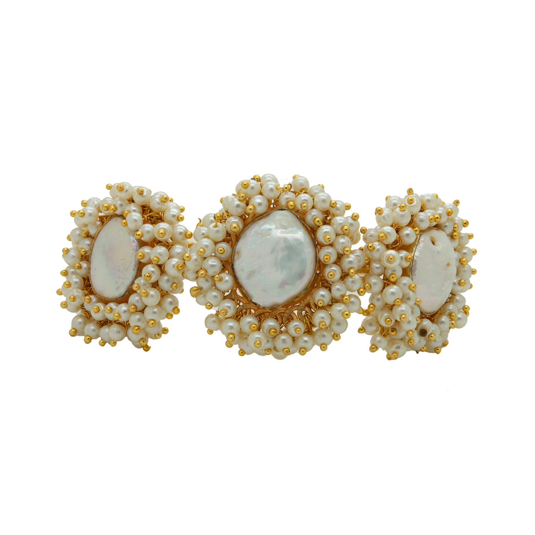 Stylish MOP Unshaped Gold Plated Pearl Bracelet 1