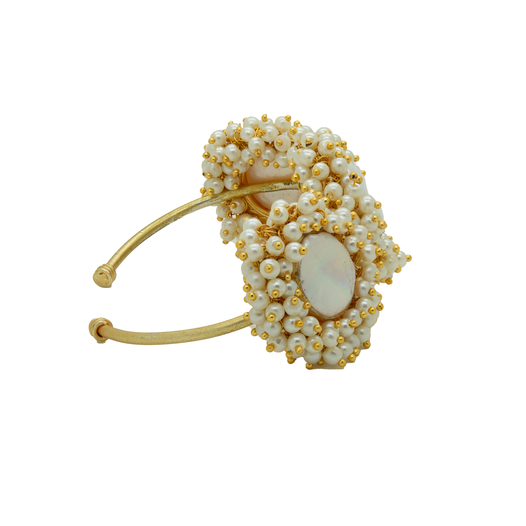 Stylish MOP Unshaped Gold Plated Pearl Bracelet 2