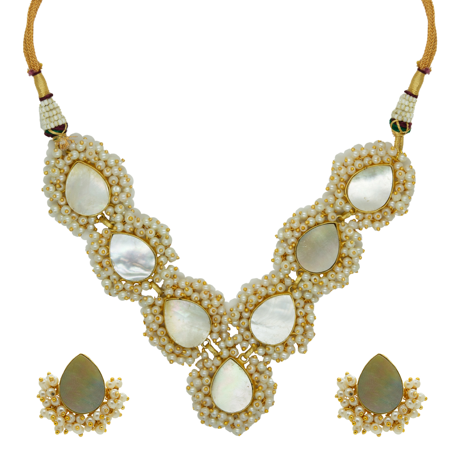 Stylish MOP Paan Shape Gold Plated Necklace With Studs 2