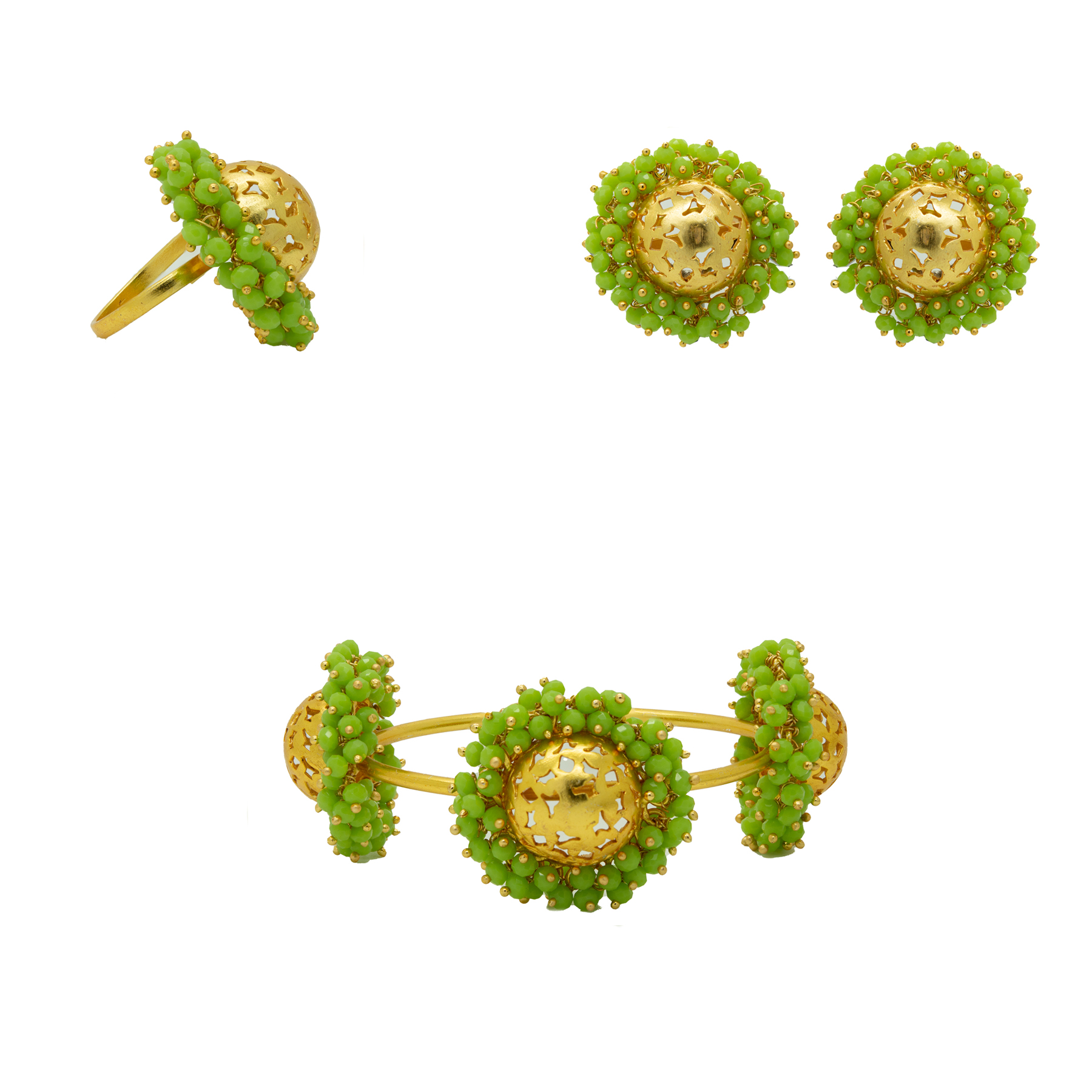 Festival Wear Round Gold Plated Green Beads Combo Set