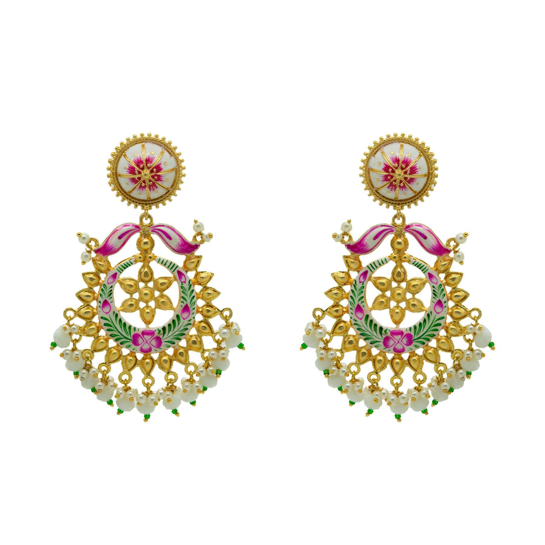 Trendy Floral Hand Painted Gold Plated Maang Tikka Set 2