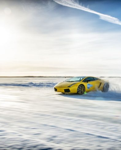 supercar driving on ice