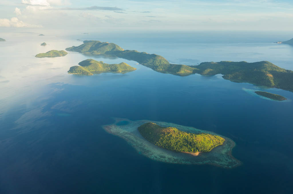 Aerial view over beautiful islands and deserted beaches, Philippines