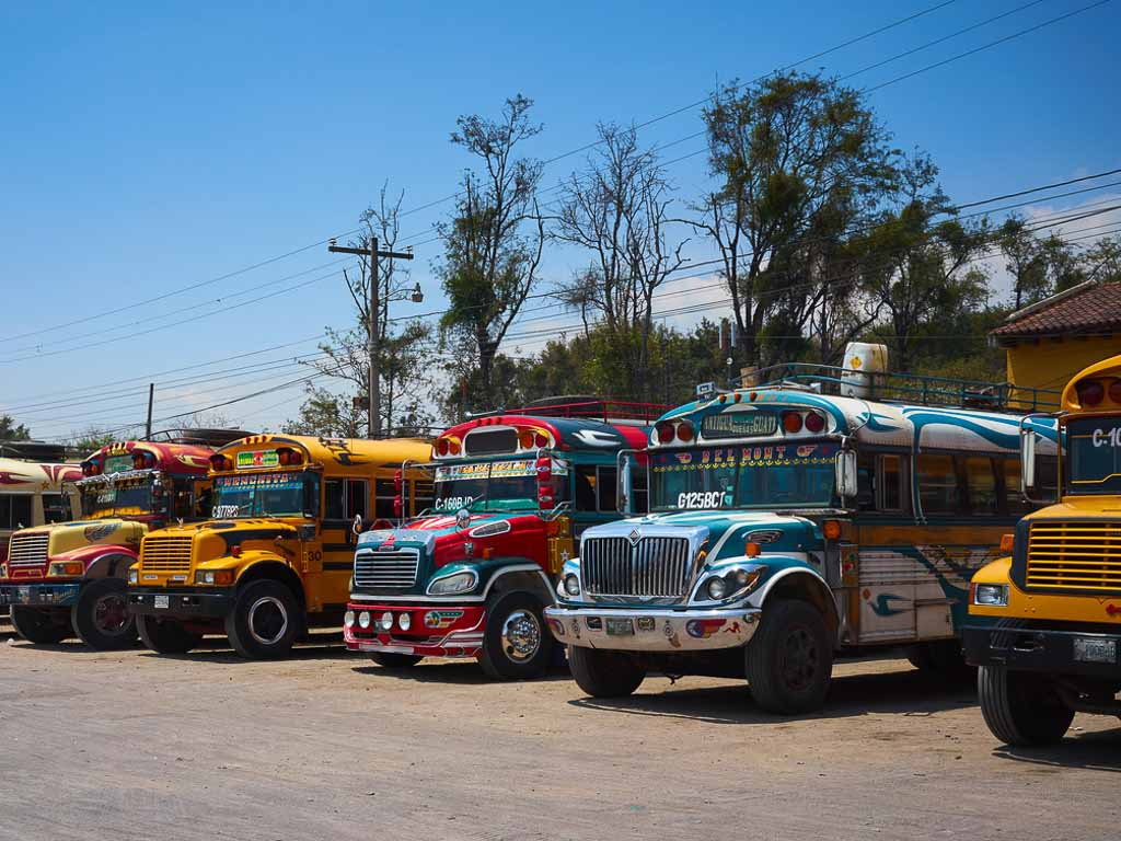 """Typical """"chicken buses"""" in Antigua / Public transportation"""