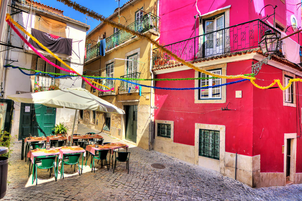 Beautiful wide angle image of the tight streets with lots of colors in Lisbon, Portugal