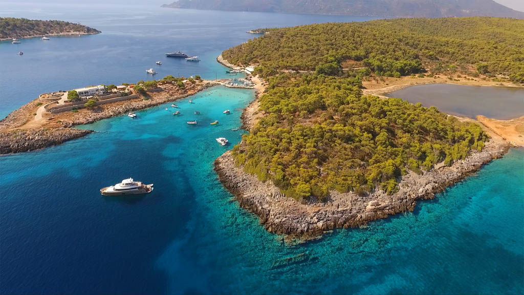 island of Agistri with clear turquoise water