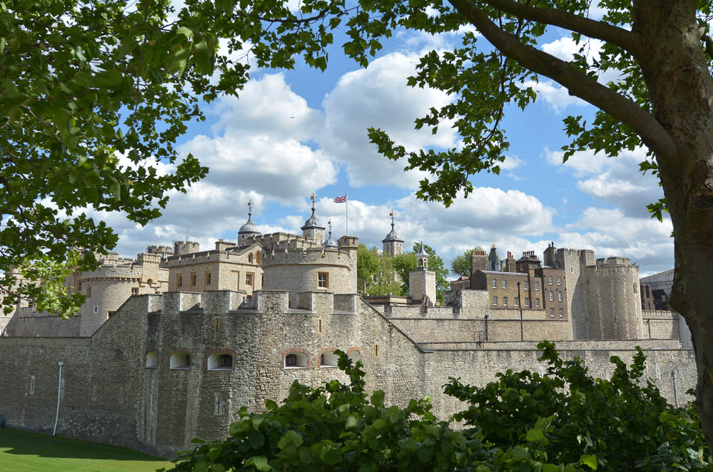 The outer curtain wall of The Tower of London in City of London, UK.