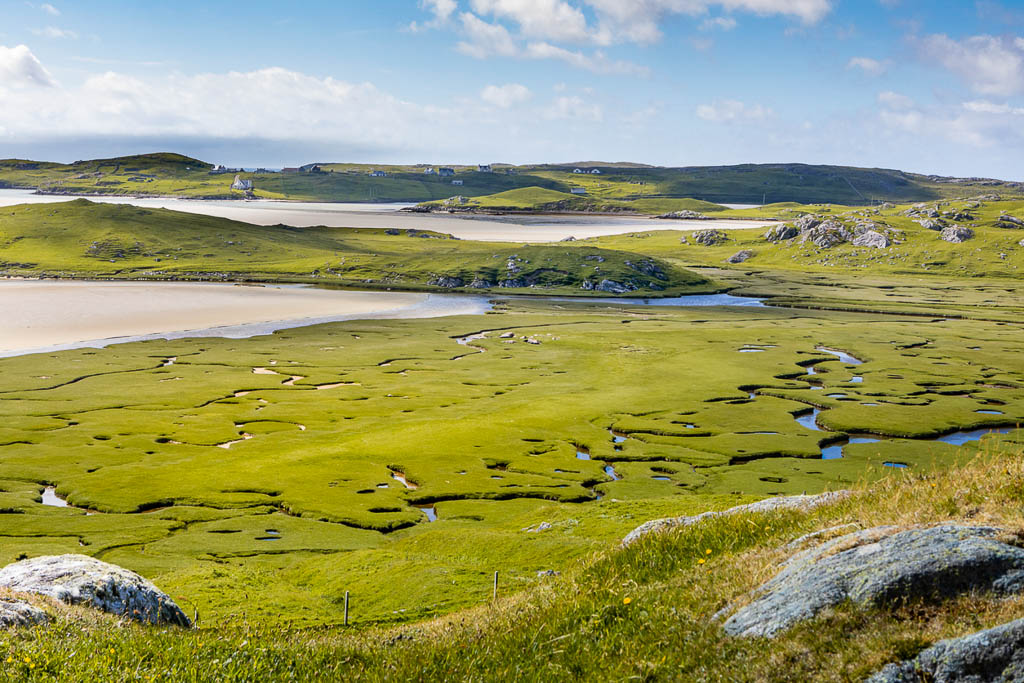 aerial view with an meander river on bay of Uig, isle of lewis, outer Hebrides, Scotland