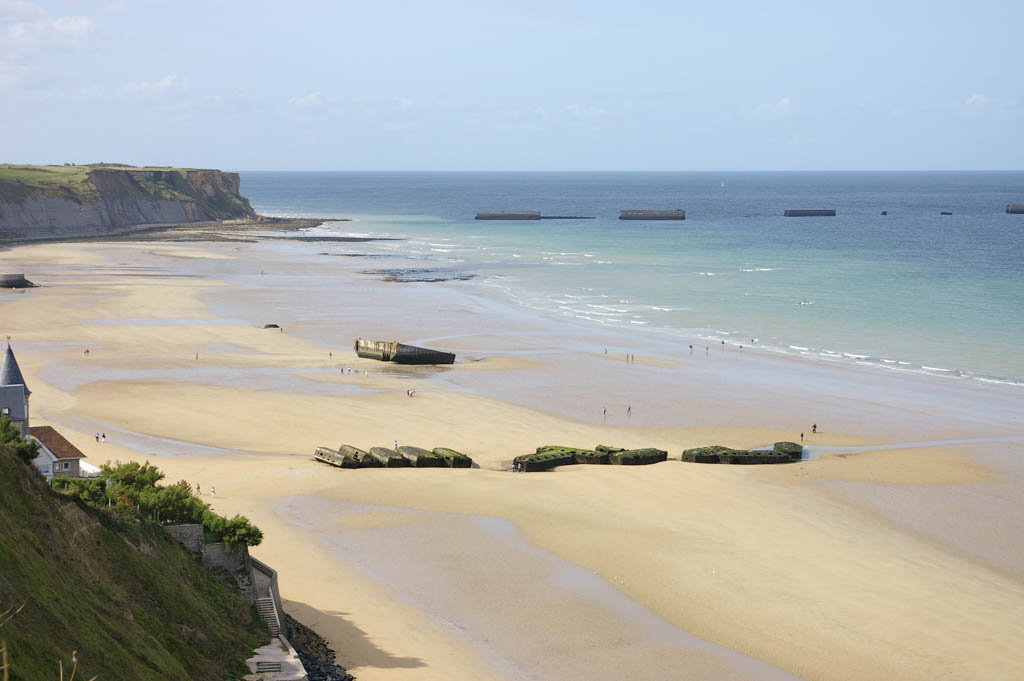 The floating port of Arromanche used during Worl War II, also known as Mulberry port, was built for serving the troops on the beach of Arromanche, Normandy, France