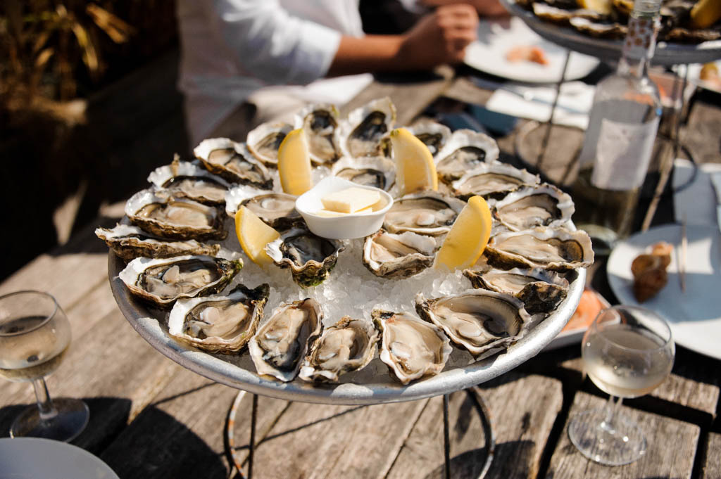 Tasty oysters on the half shell served flat lay on wooden background directly above view