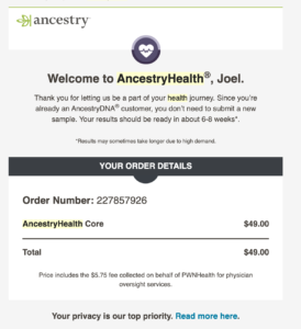 Welcome Email for Ancestry Health