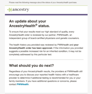 Update email about Ancestry Health