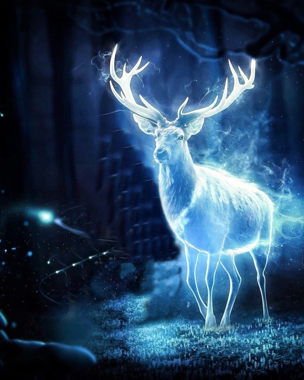 Neon Light Deer Background For Photo Editing