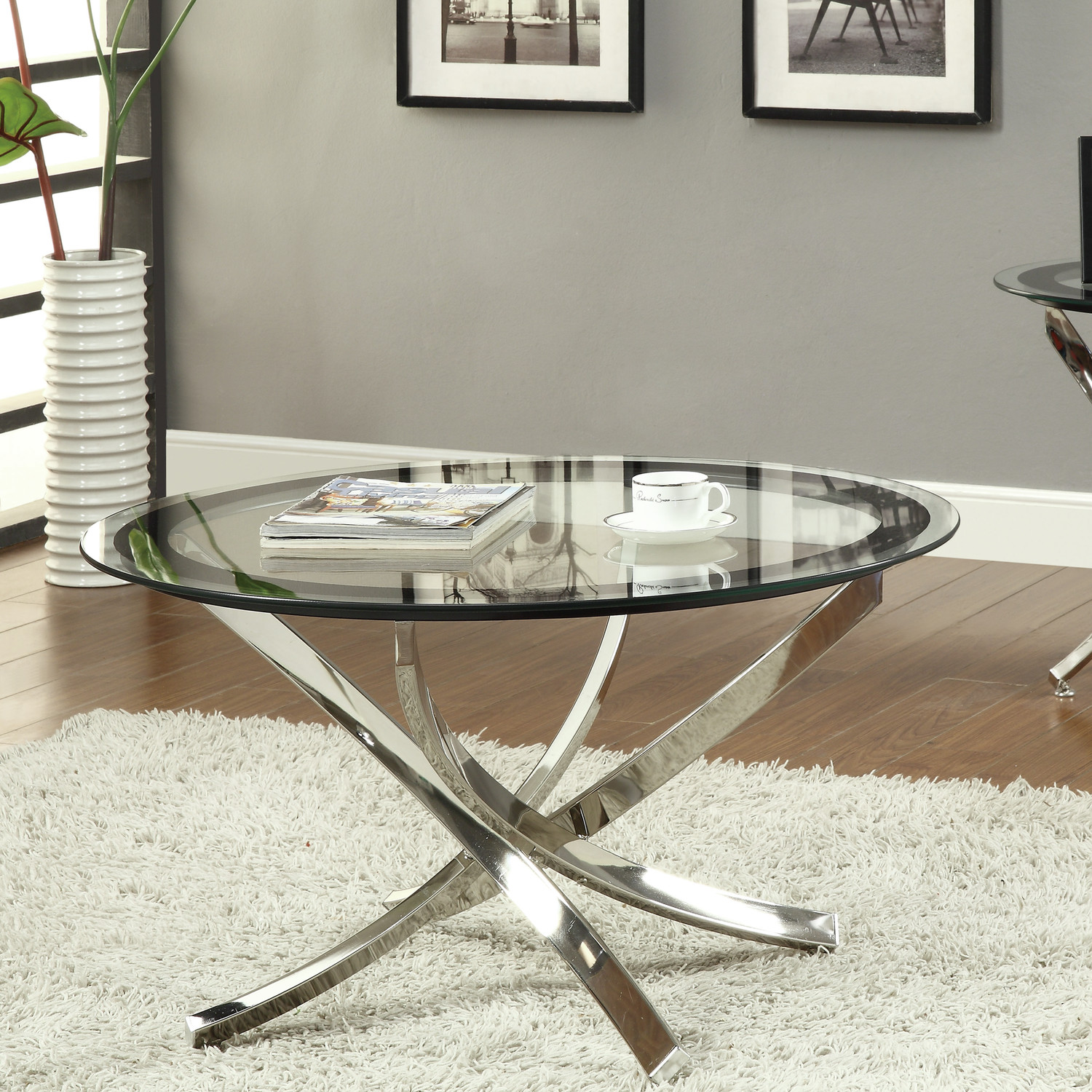 Coffee Table Glass Top Royals Courage Round Metal Coffee Table