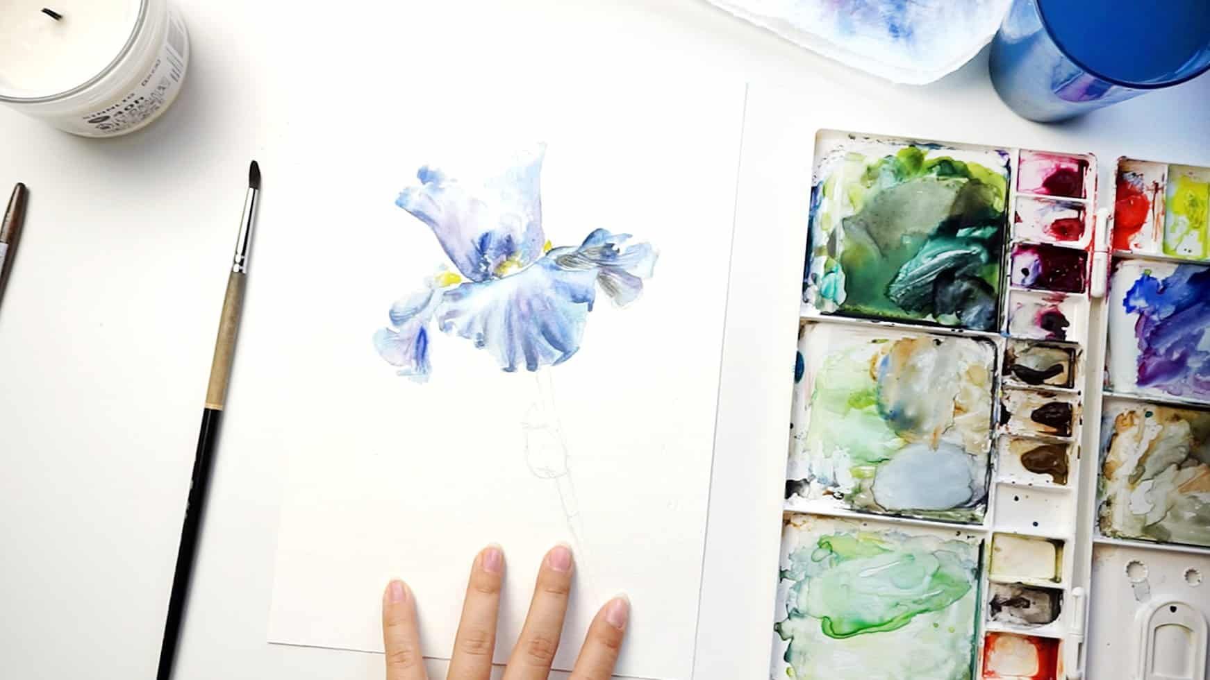 watercolor iris step 12