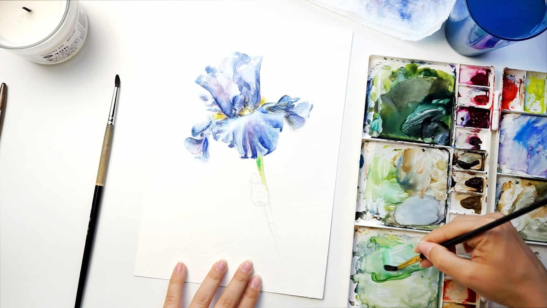 watercolor iris step 16