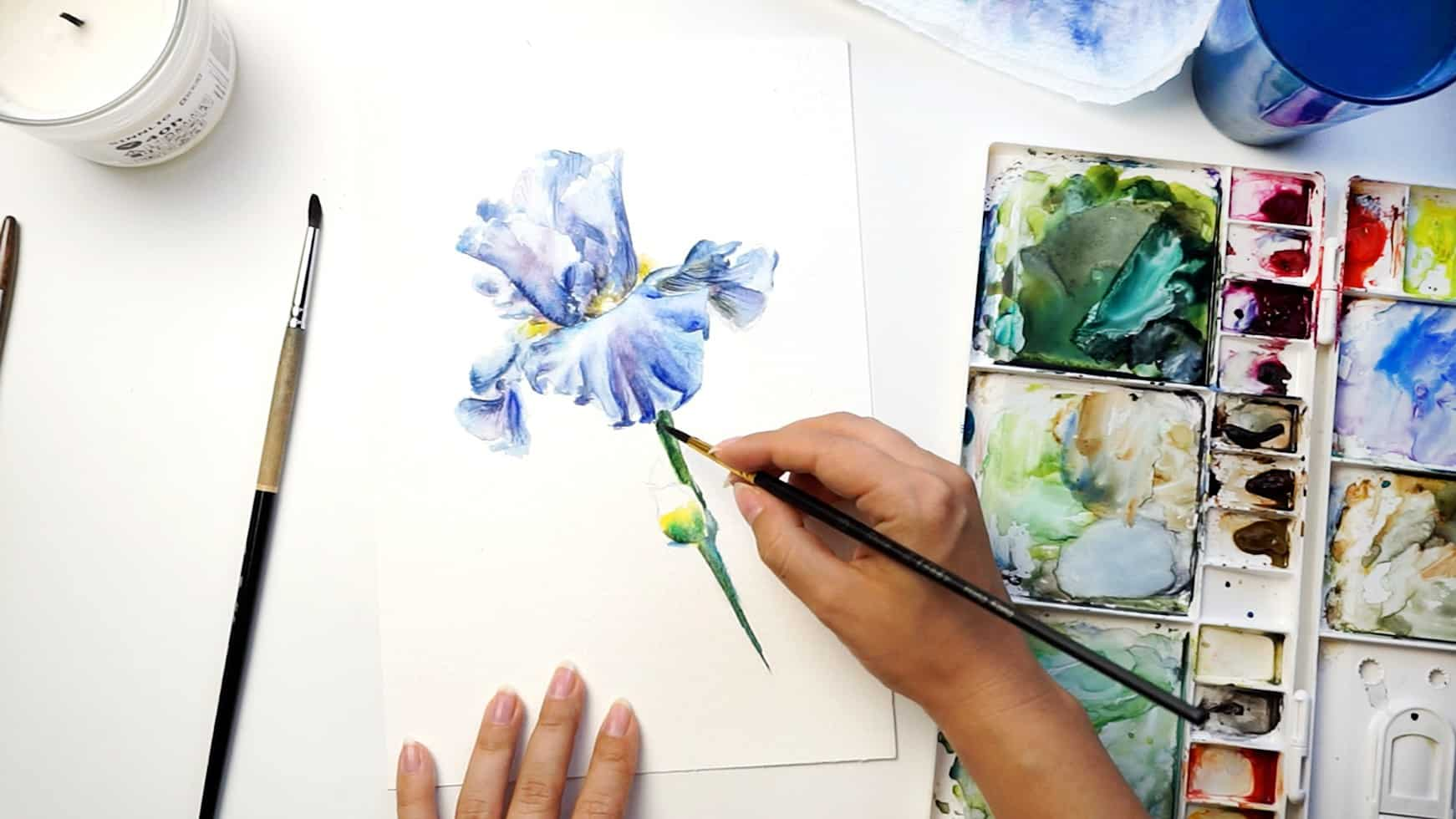 watercolor iris step 17