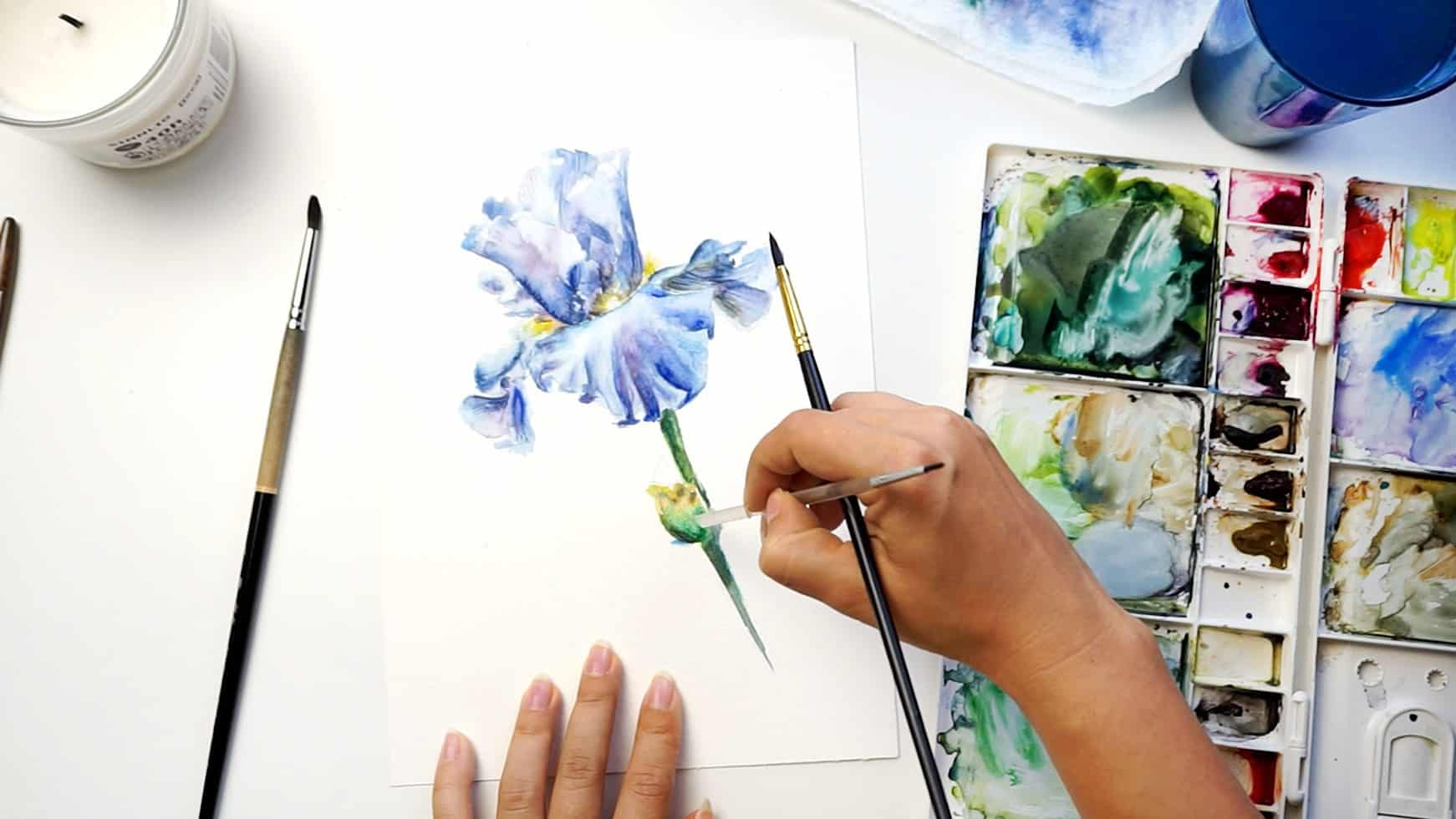 watercolor iris step 18