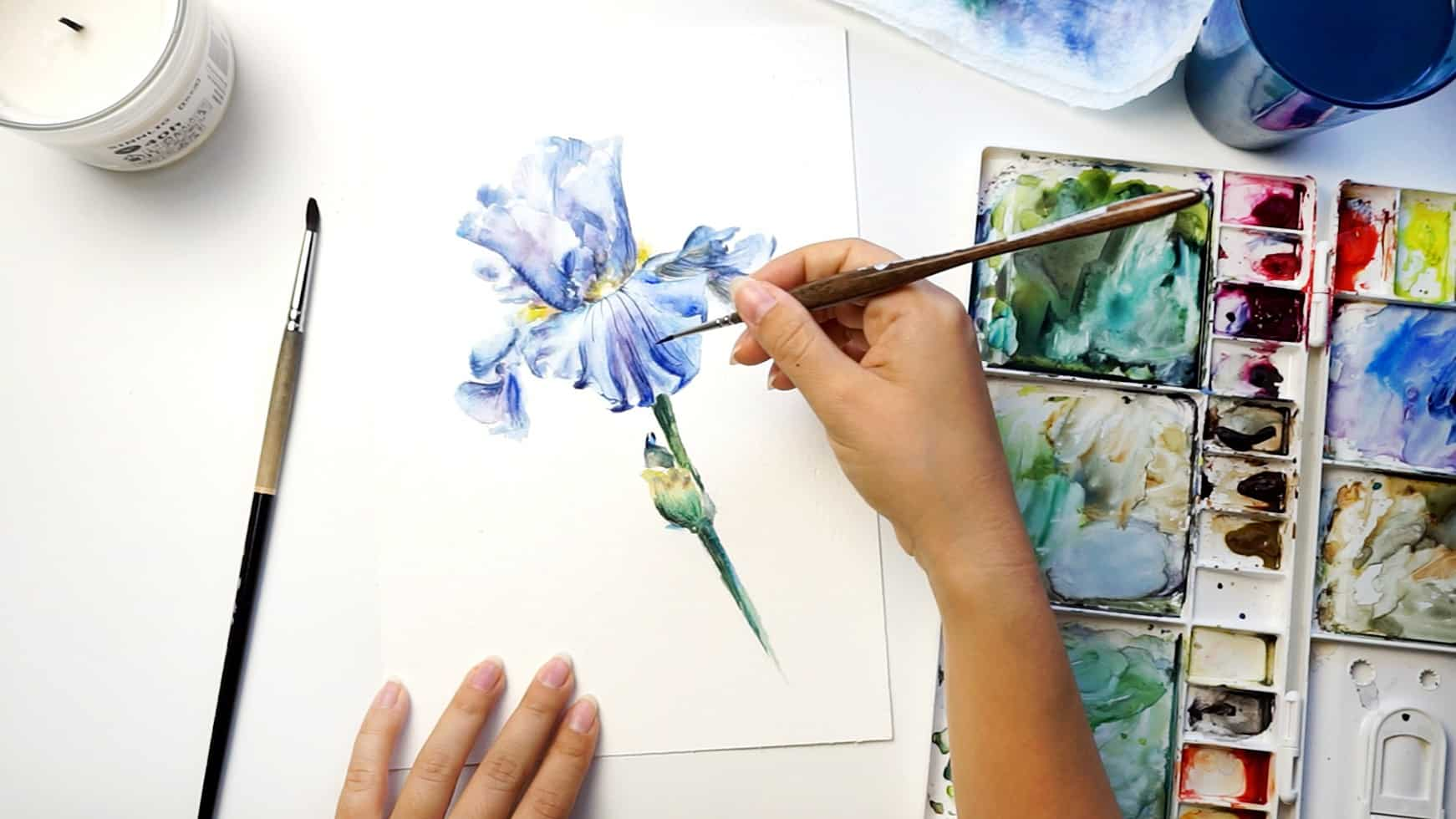 watercolor iris step 19