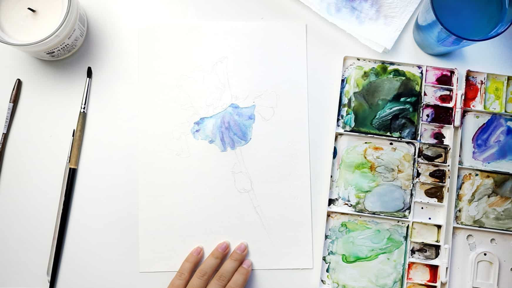 watercolor iris step 5