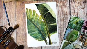 Paint palm leaves in watercolor step by step
