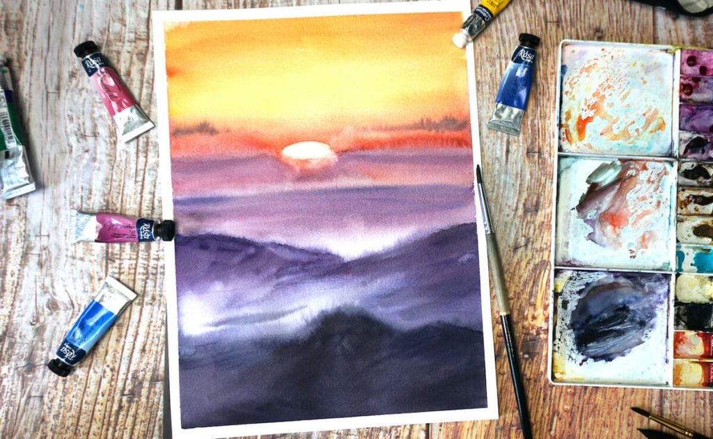 Paint a sunset in watercolor step by step 1