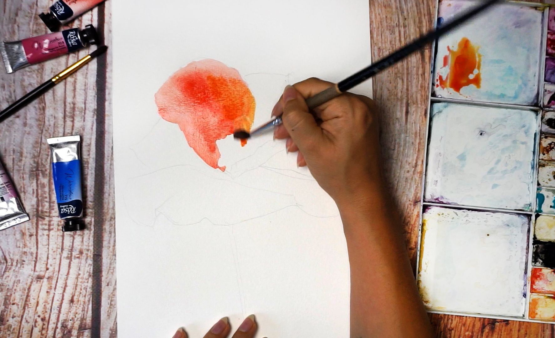 Paint a poppy flower with watercolor step by step 3