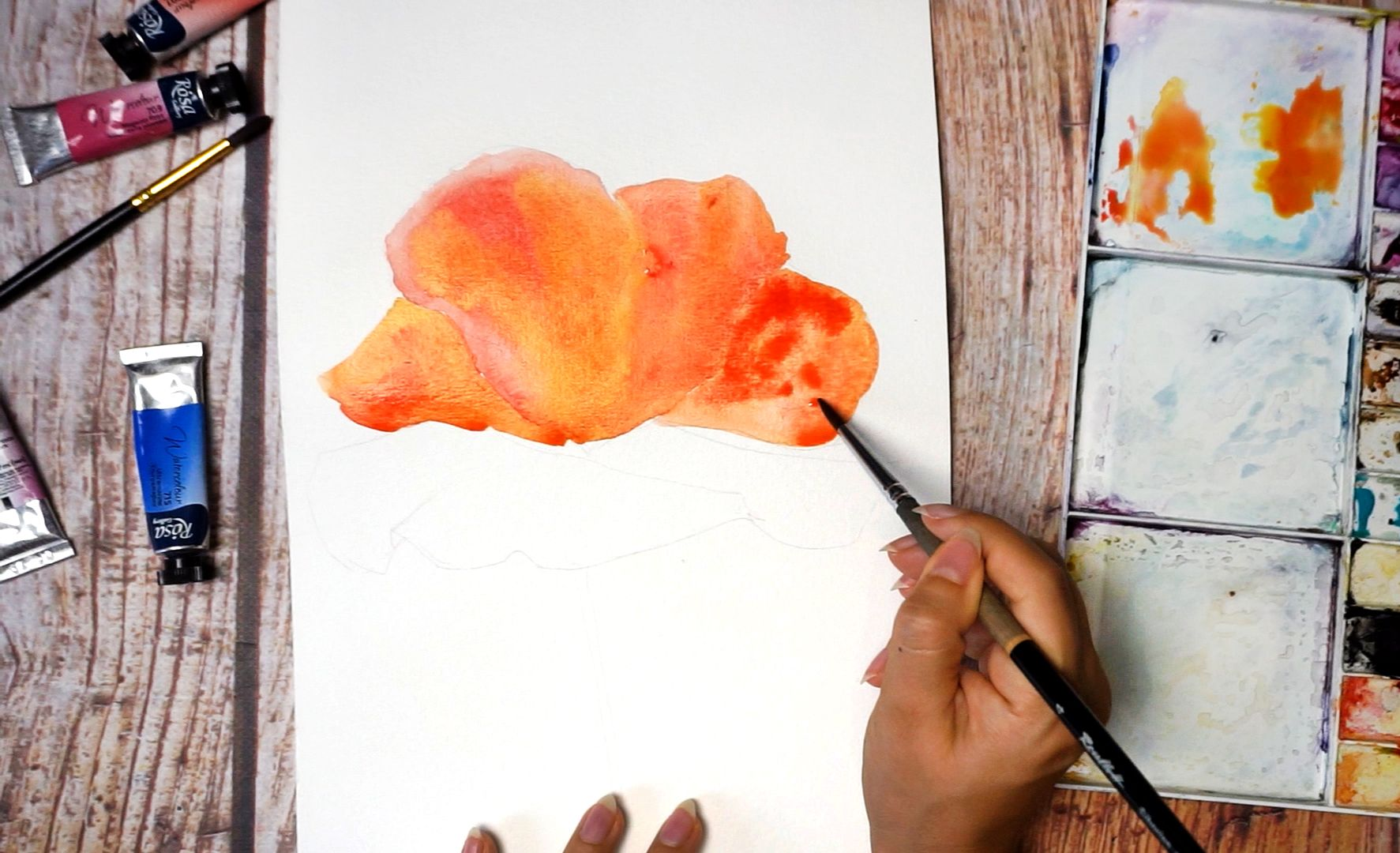 Paint a poppy flower with watercolor step by step 7