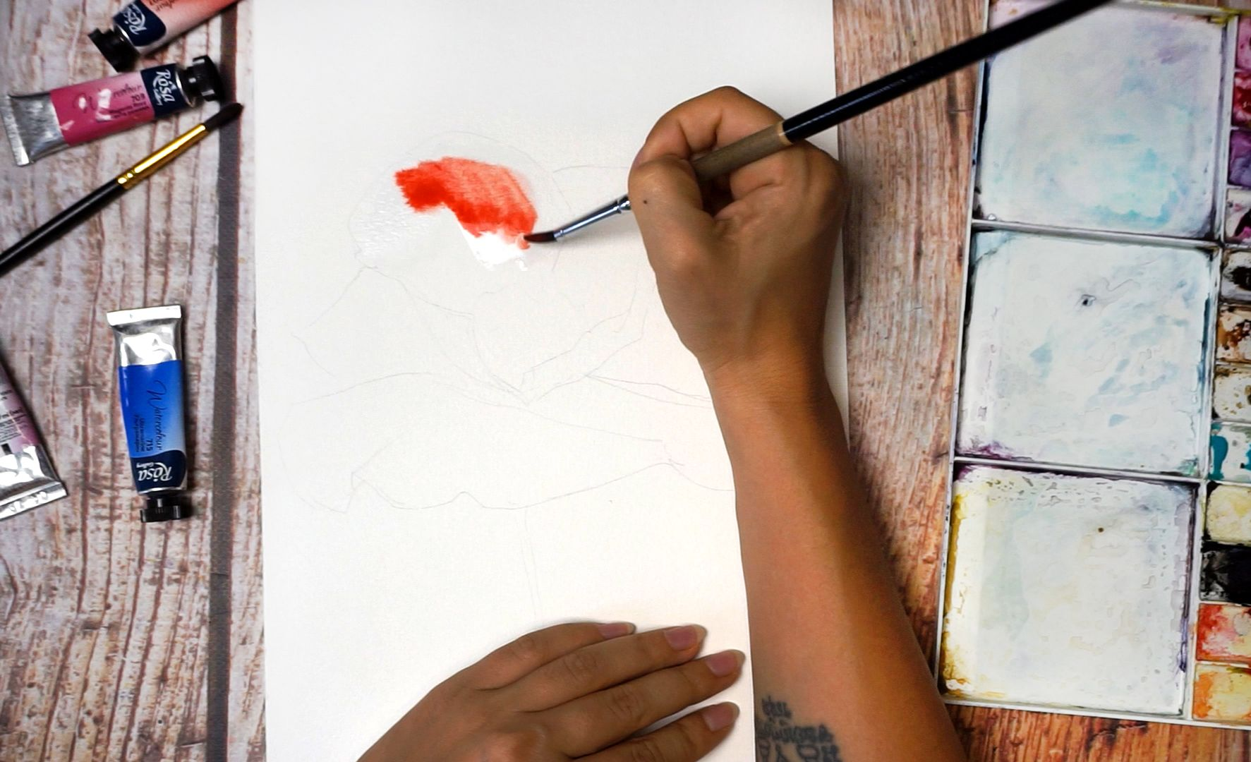 Paint a poppy flower with watercolor step by step 2