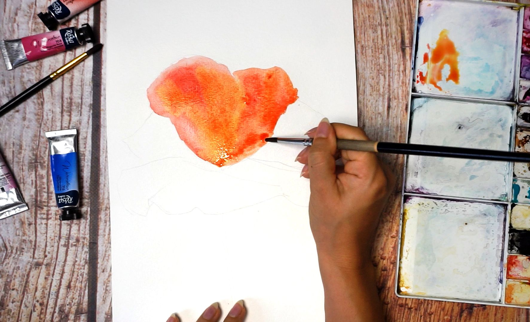 Paint a poppy flower with watercolor step by step 5
