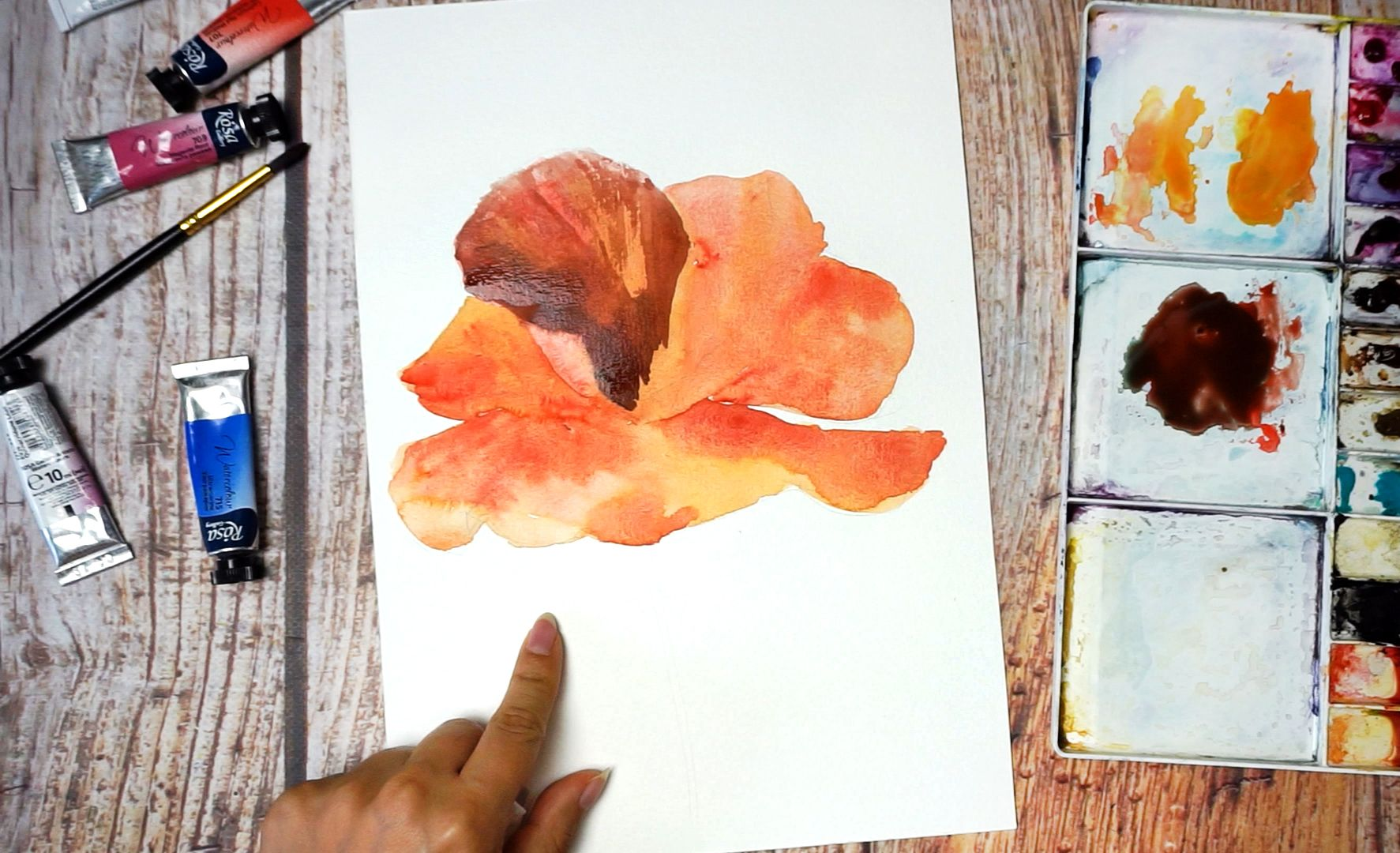 Paint a poppy flower with watercolor step by step 10