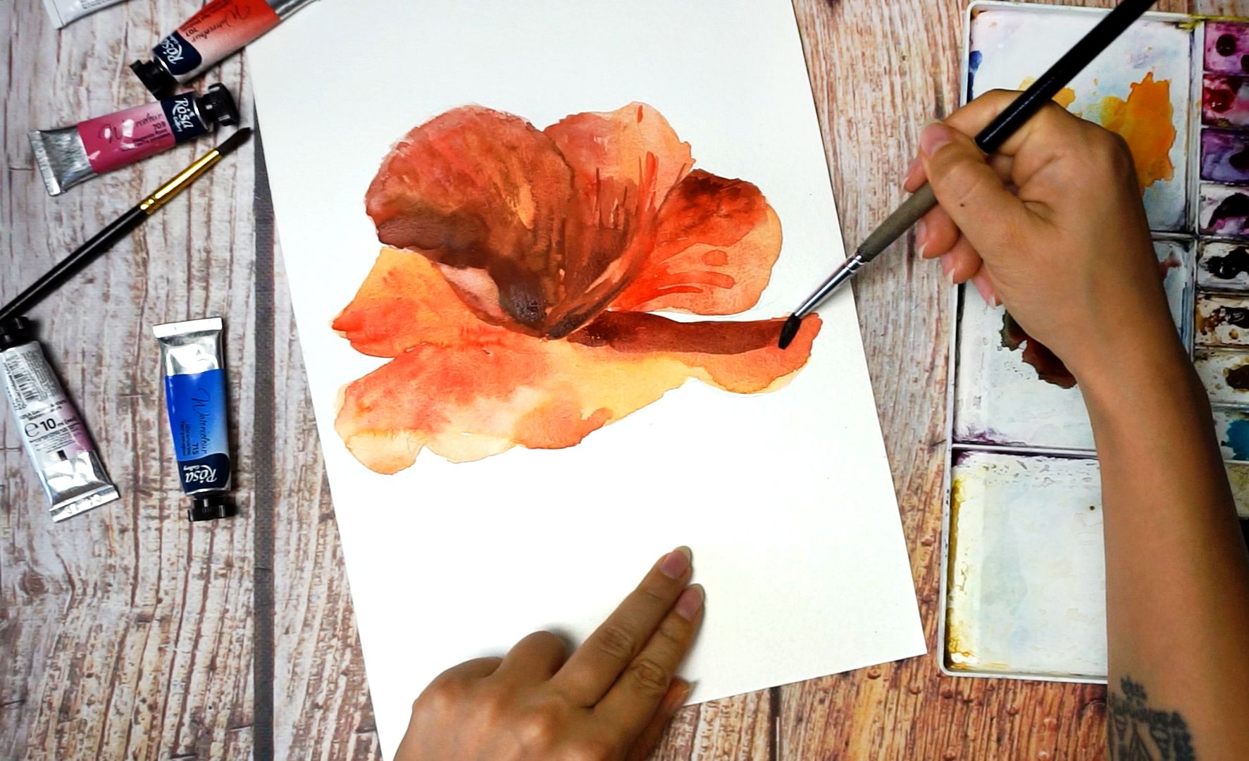 Paint a poppy flower with watercolor step by step 12