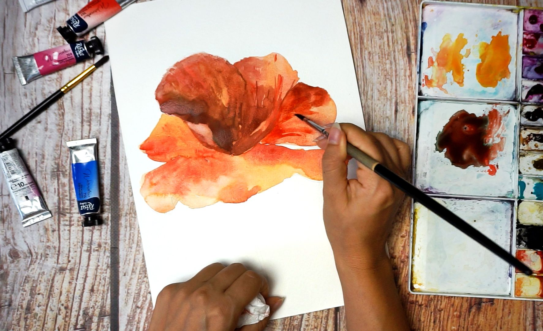 Paint a poppy flower with watercolor step by step 11